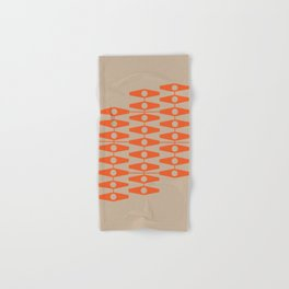 abstract eyes pattern orange tan Hand & Bath Towel