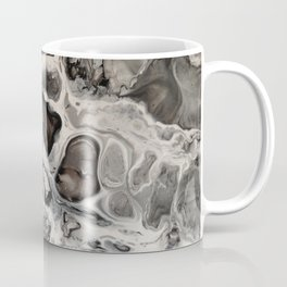 """Black, Silver and White Fluid Painting - """"Obsidian"""" Rock Coffee Mug"""