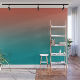 Pantone Living Coral & Viridian Green Gradient Ombre Blend Wall Mural