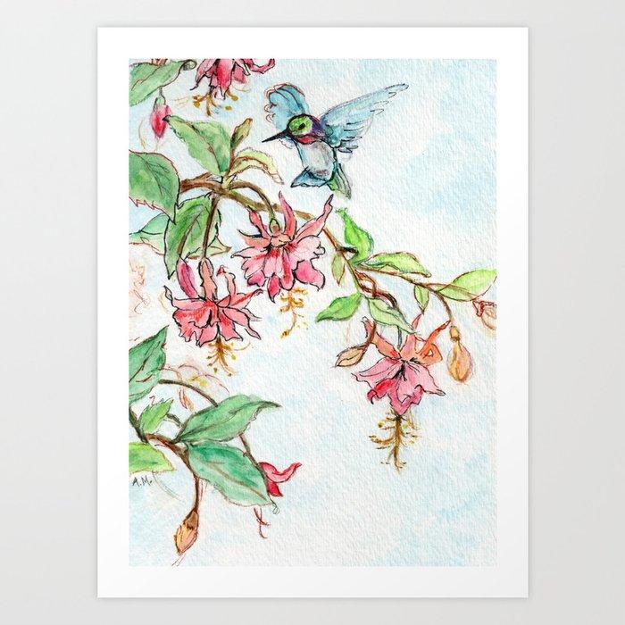 Honeysuckle Hummingbird Kunstdrucke