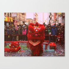 Chinese Lion Dance in Chinatown, NYC Canvas Print