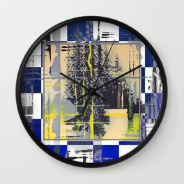Sunday Morning - blue check Wall Clock