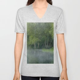 Photograph of mist on water, with woodland on the shore. Unisex V-Neck