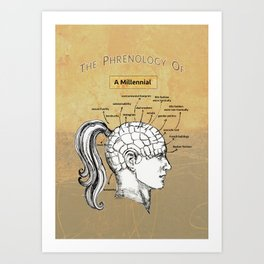 The Phrenology of a Millennial. Art Print