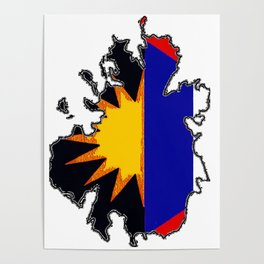 Antigua Map with Antiguan Flag Poster