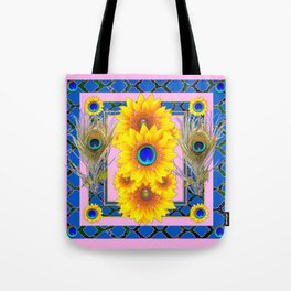 PINK-BLUE PEACOCK SUNFLOWERS DECO JEWELED Tote Bag
