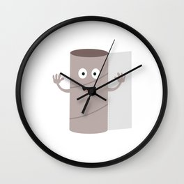 Empty Toilet paper roll with face Wall Clock