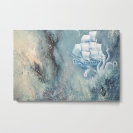 Octopus Ship Metal Print