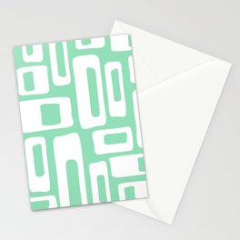 Retro Mid Century Modern Abstract Pattern 335 Mint Green Stationery Cards