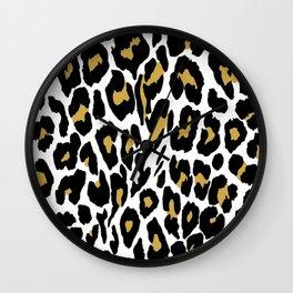 Animal skin leopard tiger print pattern design. Wall Clock