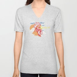 Wake Up Monoline Rooster Graphic Unisex V-Neck