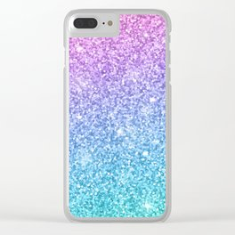Pink Ombre Glitter Clear iPhone Case