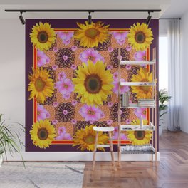Western Style Burgundy Sunflower Art in Pink Wall Mural