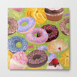 Donuts, Cupcakes, Candy Metal Print