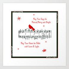 Merry Music and Red Bird Art Print