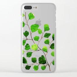 Green watercolor maidenhair fern Clear iPhone Case