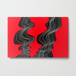 Parallel Lines No.: 02. in Red - White Lines Metal Print
