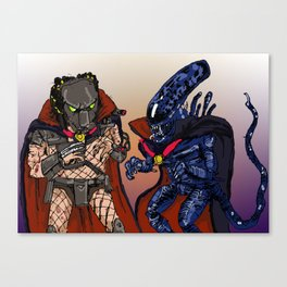 """Vampire Alien Vs. Vampire Predator"" (from Farts 'N' Crafts episode 7) Canvas Print"