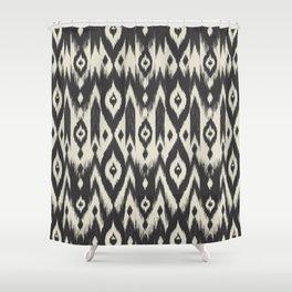 Black & Cream Tribal Ikat Shower Curtain