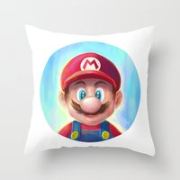 mario kart Throw Pillows featuring Mario Portrait by Laurence Andrew Page Illustrator