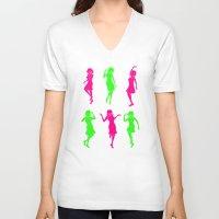 girls V-neck T-shirts featuring Girls by Derek Eads