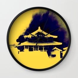 Shuri Castle Burning: A Silhouette of a Tragedy Wall Clock