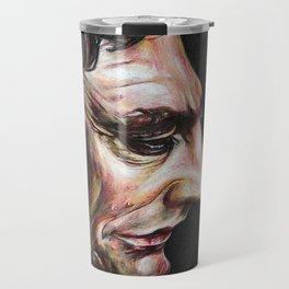 Portrait of Johnny Cash in Colored Pencil Travel Mug