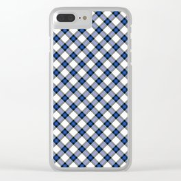 Blue Tartan Clear iPhone Case