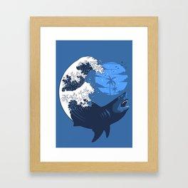 Wave megalodon Framed Art Print