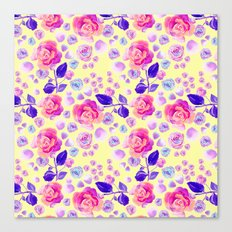 Rosaful rose pattern #Lemon Canvas Print