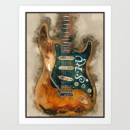 stevie ray vaughan's, electric guitar, gift for guitarists, guitar gift, blues music Art Print