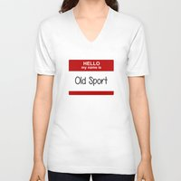 sport V-neck T-shirts featuring Old Sport by discojellyfish