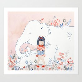 Girl and Elephant Art Print