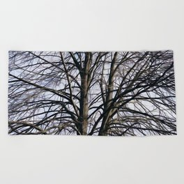 Stained Glass Tree Beach Towel