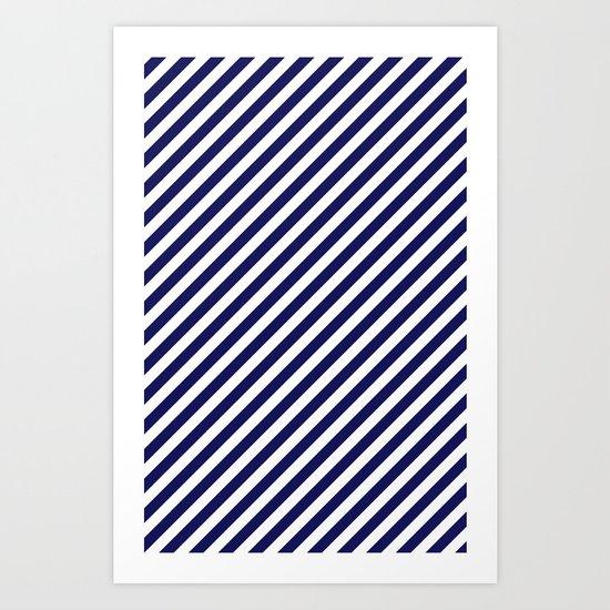 Classic Stripes in Navy + White Art Print