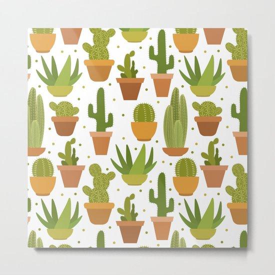 Cactuses white pattern Metal Print