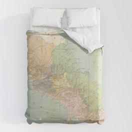 Vintage Map of Costa Rica (1889) Comforters