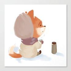 Winter Fox Drink Canvas Print