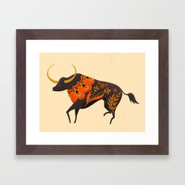 Bull Folk Art Illustration Framed Art Print