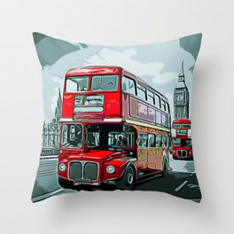 Double-decker Bus Double Floor Driving Right Anglophone Ideology Throw Pillow