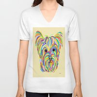yorkie V-neck T-shirts featuring Yorkshire Terrier - YORKIE! by EloiseArt