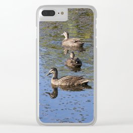 Ducks on a pond Clear iPhone Case