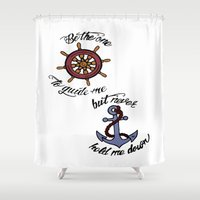 larry Shower Curtains featuring Helm and Anchor. (Larry Stylinson) by Arabella