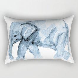 Elephant Sketch in Blue Rectangular Pillow