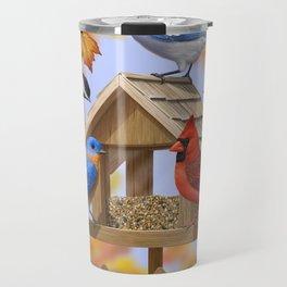 Autumn Bird Feeder Gathering Travel Mug