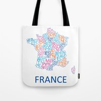 france Tote Bags featuring France by Alexandra Dzh