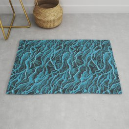Manta Rays in Crashing Waves Pattern, Turquoise Rug
