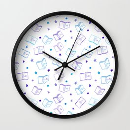 Classic Book Doodles Purple & Blue Wall Clock