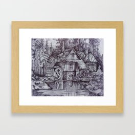 a boiler house in the forest with a stream. Framed Art Print