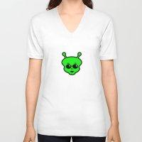 alien V-neck T-shirts featuring Alien by Spooky Dooky